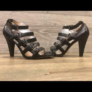 BOUTIQUE 9 Black Leather Gladiator Heels Sandals